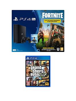 bdceb3e0a PlayStation 4 Pro PS4 PRO Black Console with Fortnite Royal Bomber Skin and  500 V Bucks with Grand Theft Auto 5 (GTA V) plus optional extra controller  ...