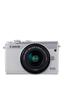 canon-eos-m100-white-csc-camera-inc-15-45mm-lens-irista-50gb-with-free-neck-strap