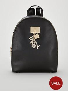 dkny-elissa-medium-key-logo-zipper-backpack-blackgold
