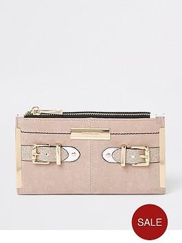 river-island-river-island-buckle-detail-foldout-purse-beige