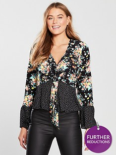 v-by-very-mixed-print-tie-waist-top-floralspot