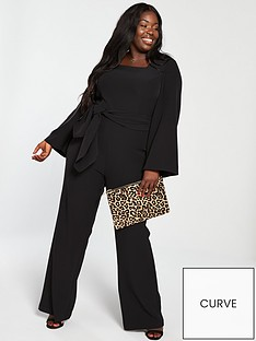 v-by-very-curve-knot-front-wide-leg-jumpsuit-black