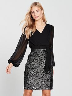 phase-eight-janessa-sequin-skirt-dress-blacksilvernbsp