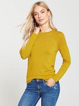 warehouse-pointelle-stitch-yoke-jumper-mustard
