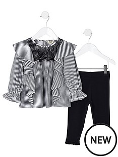 river-island-mini-girls-black-stripe-frill-sleeve-outfit