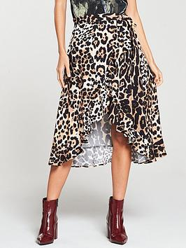 e8acffdd38ffb V by Very Printed Frill Wrap Skirt - Animal Print ...