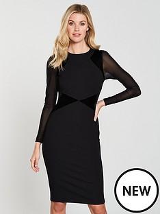karen-millen-velvet-mix-ponte-dress