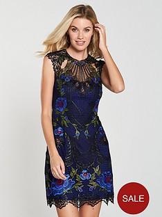 karen-millen-metallic-coated-floral-embroidered-dress-multinbsp