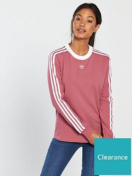 d0cada235ff adidas Originals 3 Stripes Long Sleeve Top - Dusty Pink ...