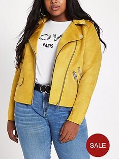 a770708739 RI Plus Faux Suede Biker Jacket - Yellow