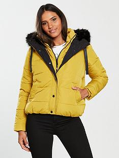 River Island River Island Hooded Padded Jacket- Yellow f236699044