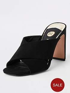 river-island-cross-strap-mule-sandals-black