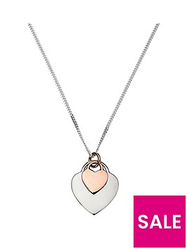 the-love-silver-collection-sterling-silver-rose-gold-plated-double-heart-pendant-necklace