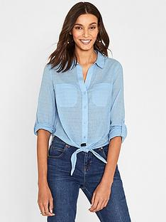 dc3ff81a45e65e Oasis Dobby Cotton Tie Front Shirt - Blue