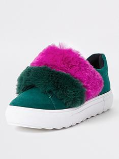 river-island-contrast-faux-fur-slip-on-trainer-green