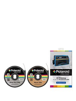 polaroid-polaroid-metal-amp-wood-pla-filament-amp-z-axis-sheets-bundle-for-3d-printer-includes-1-x-750g-cartridge-silver-amp-1-x-750g-cartridge-wood-amp-15-z-axis-sheets