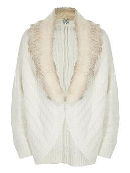 b167fbae0 River Island Girls Cream Cable Knit Faux Fur Cardigan ...