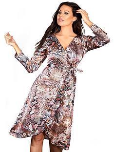 6670ac529545 Sistaglam Loves Jessica SISTAGLAM LOVES JESSICA MIXED ANIMAL PRINT SLINKY  WRAP DRESS
