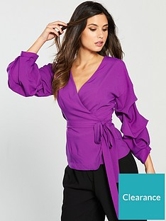 0788454d60 Lavish Alice Gathered Sleeve Wrap Shirt - Bright Purple