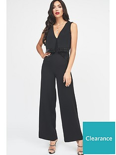 a4ae73f5a112 Lavish Alice Origami Wide Leg Jumpsuit With Beaded Fringed Trim - Black