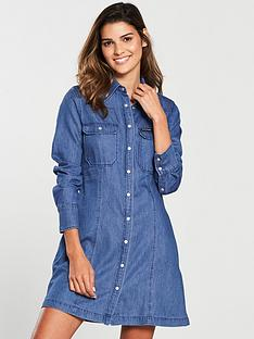 calvin-klein-denim-tencel-shirt-dress-blue
