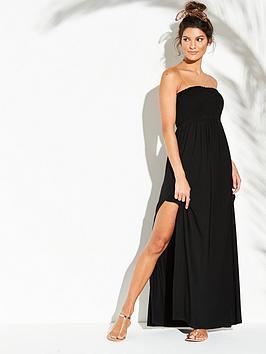 db98aeb7331 V by Very Jersey Shirred Bandeau Beach Maxi Dress - Black ...