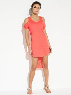 v-by-very-jersey-dipped-back-twist-sleeve-beach-dress-bright-coral