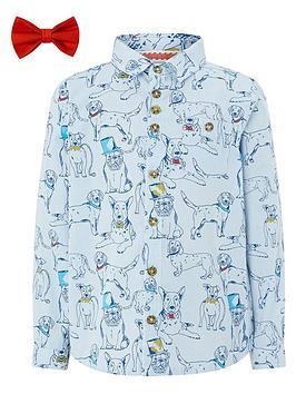 85e44294 Monsoon Deano Dog Print Shirt & Bow Tie | littlewoodsireland.ie