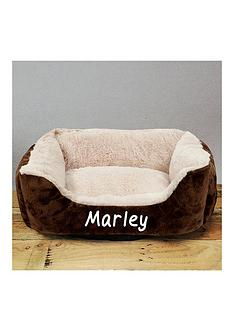personalised-grey-luxury-pet-bed-creambrown