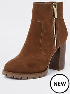 river-island-chunky-heel-side-zip-boot-brown