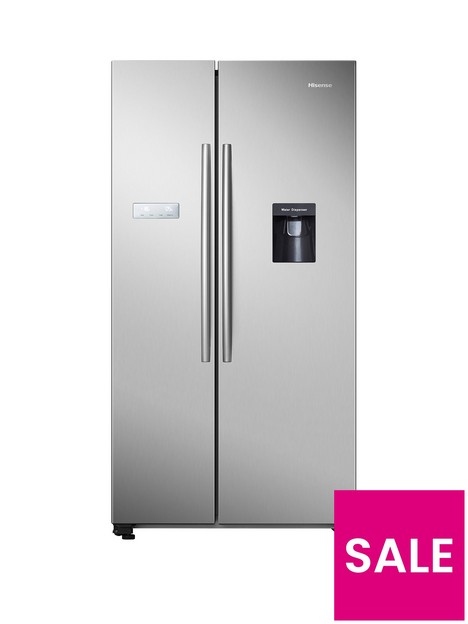 hisense-rs741n4wc11-90cmnbspwide-total-no-frost-american-style-fridge-freezer-with-non-plumbed-water-dispenser-stainless-steel