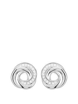 de37f536b Evoke Evoke Rhodium Plated Sterling Silver & Swarovski Crystal Knot Stud  Earrings