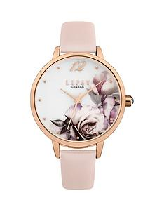 51de4325 Lipsy Lipsy White with Floral Print and Rose Gold Detail Dial Pink Leather  Strap Ladies Watch