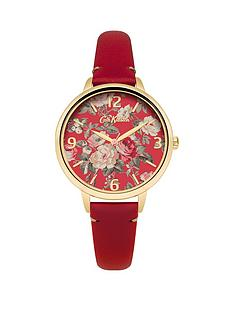 cath-kidston-cath-kidston-red-roses-with-gold-detail-dial-red-leather-strap-ladies-watch