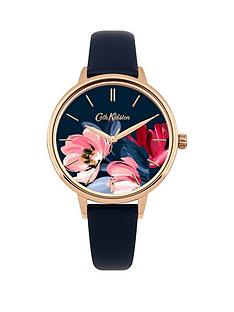 cath-kidston-cath-kidston-paintbox-flowers-gloss-floral-print-dial-navy-blue-leather-strap-ladies-watch