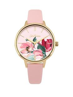 cath-kidston-paintbox-flowers-gloss-floral-print-dial-pale-pink-leather-strap-ladies-watch