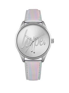 hype-silver-and-foil-logo-dial-foiled-pu-strap-watch