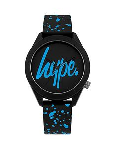 hype-black-and-bright-blue-logo-dial-black-and-blue-print-silicone-strap-watch