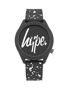 hype-black-and-white-logo-dial-black-and-white-print-silicone-strap-watch