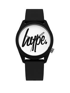 hype-white-and-black-logo-dial-black-silicone-strap-watch