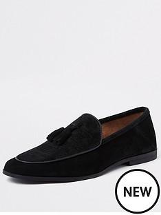river-island-black-textured-suede-tassel-loafer