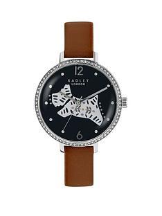 radley-radley-black-and-silver-dog-jewelled-dial-tan-leather-strap-ladies-watch