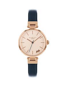 radley-radley-rose-gold-5-oclock-dog-dial-blue-slim-leather-strap-ladies-watch