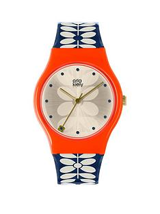 orla-kiely-bobby-champagne-and-pink-dial-blue-and-white-stem-print-silicone-strap-ladies-watch