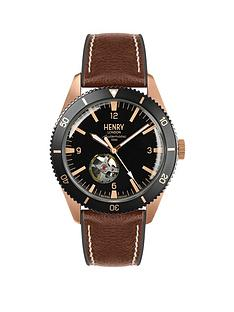 henry-london-sports-automatic-black-and-rose-gold-dial-brown-leather-strap-mens-watch