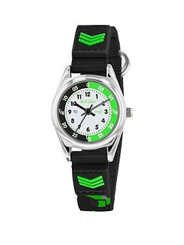 tikkers-tikkers-white-black-and-green-time-teller-dial-black-fabris-velco-strap-kids-watch