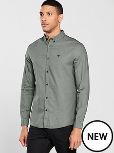river-island-grey-button-down-collar-long-sleeve-shirt