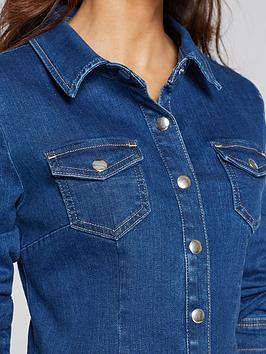 Button Through Denim Dress - Blue