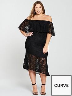 v-by-very-curve-stretch-lace-ruffle-asymmetric-dress-black