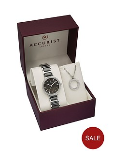 accurist-accurist-jewelled-black-pearl-dial-stainless-steel-and-black-ceramic-bracelet-ladies-watch-and-jewelled-silver-circle-pendant-necklace-gift-set